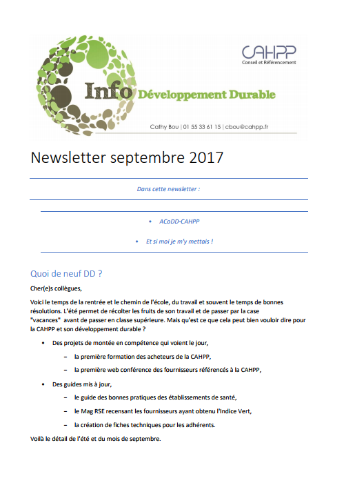 Newsletter développement durable septembre 2017
